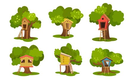 Set of painted tree houses. Vector illustration.
