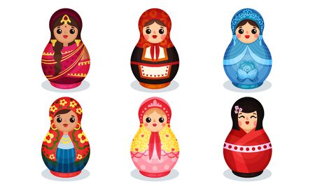 Nesting Dolls in Colorful Costumes of Different Countries Vector Set.