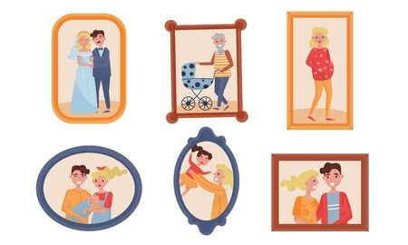 Family Pictures or Photos in Frames For Wall Decoration Vector Set
