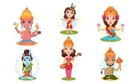 Set of images of indian gods. Vector illustration on a white background.