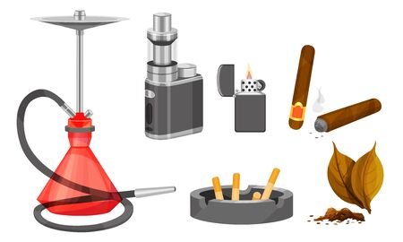 Tobacco Products and Smoking Accessories Vector Set