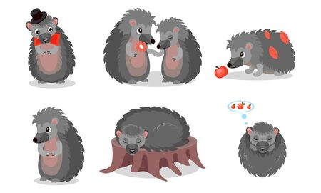 Hedgehog Character Vector Set. Prickly Forest Animal Sleeping and Wearing a Bowtie