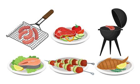 Grilled Food Vector Set. Barbeque Meat and Fish Collection