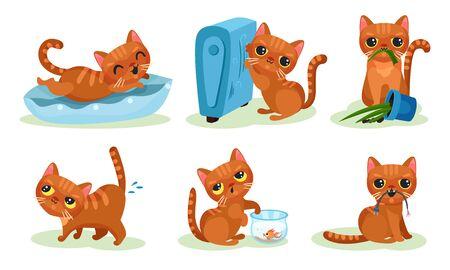 Naughty Playful Kitten Turning Over the Flowerpot, Cathcing Fish in Aquarium Vector Set Illustration