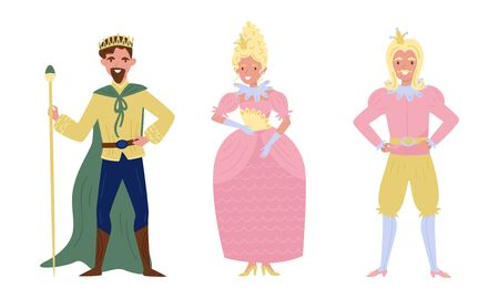Medieval Royal Family Members Vector Illustrations. King and Queen Characters