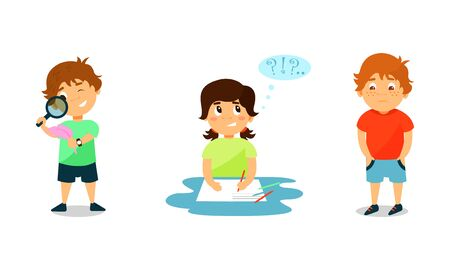 Little Kids Expressing Different Emotions Vector Illustration