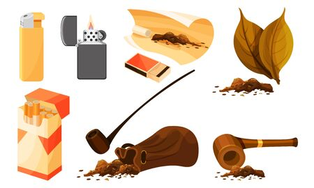 Tobacco Products and Smoking Accessories Vector Set Ilustração Vetorial