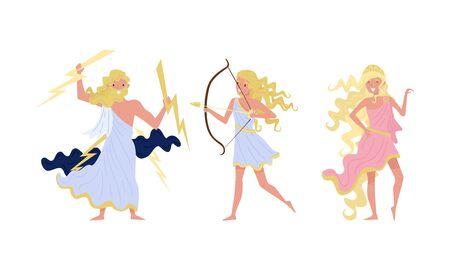 Greek Gods Isolated On White Background Vector Set