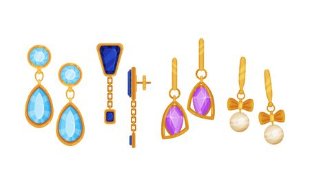 Gold Earings Vector Set. Expensive Detailed Woman Items