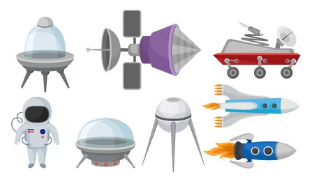 Set of various space transport and equipment. Vector illustration. Illustration