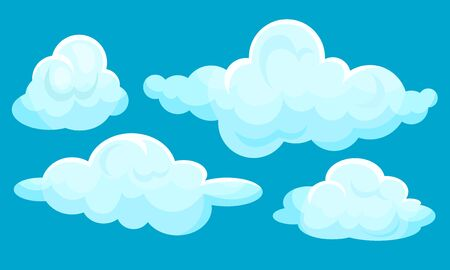Set of white clouds. Vector illustration on a blue background. 矢量图像