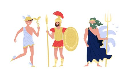 Greek Gods Isolated On White Background Vector Set