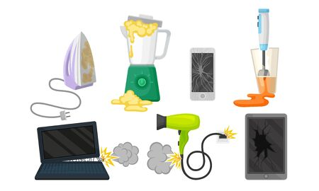 Set of broken household appliances. Vector illustration on a white background.