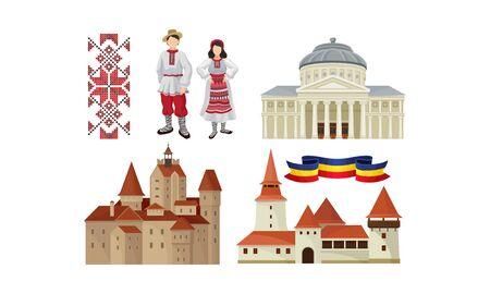 Historyczna architektura, kultura i tradycyjny haft oraz narodowe stroje Rumunii wektor zestaw ilustracji na białym tle