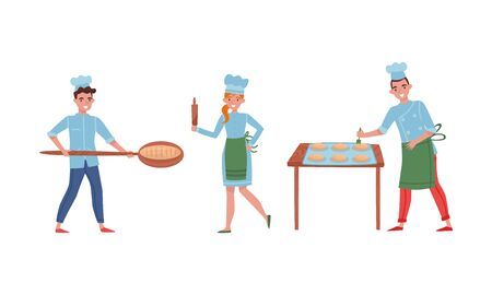 Smiling Baker Characters Baking Bread and Making Confections Vector Illustrations