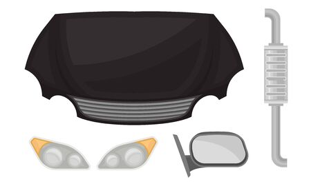 Black hood and other auto parts. Vector illustration on a white background.