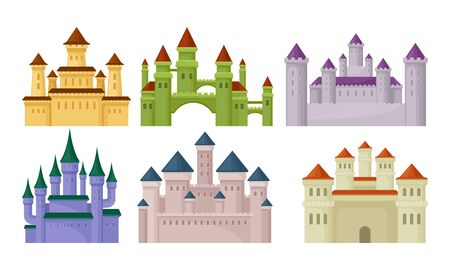 Castles and Fortresses Vector Set. Medieval Buildings Collection Ilustrace