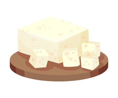 Cubes of Feta Lying on Wooden Board Vector Item 向量圖像
