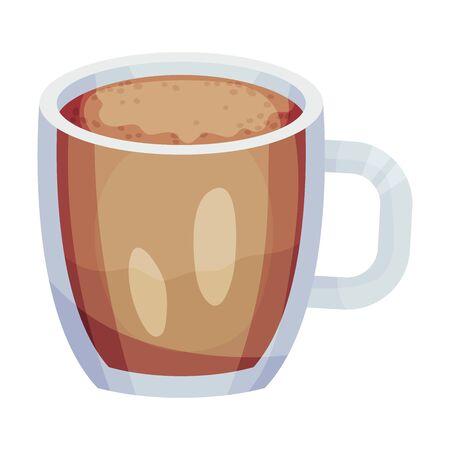 Full Glass of Hot Coffee with Dairy Cream Vector Object. Beverage With Caffeine Concept Vektoros illusztráció