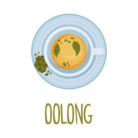 Herbal Oolong Chinese Tea View From Above Vector Illustration. Tea Therapy Concept