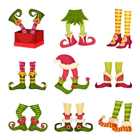 Christmas Elf Feet. Dwarf Legs Wearing Funny Striped Socks and Boots. Festive Symbol Concept