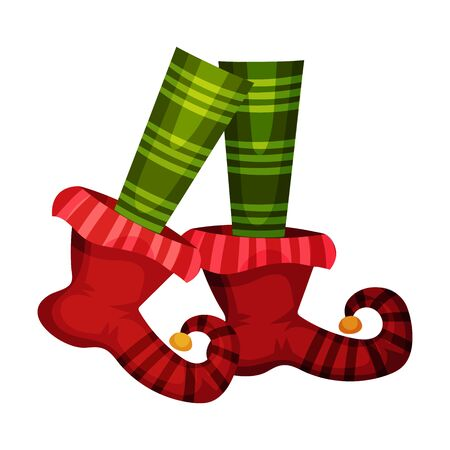 Elf Legs in Striped Green Socks and Funny Shoes With Jingle Bell Vector Item. Colorful Elvish Icon