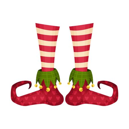 Elf Legs in Striped Socks and Funny Shoes With Jingle Bell Vector Item. Colorful Elvish Icon