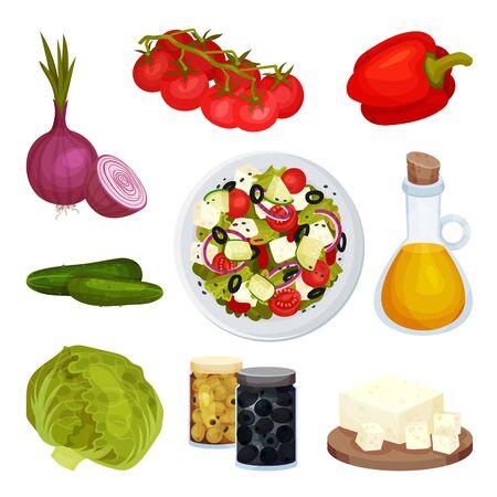 Greek Salad Ingredients Vector Set. Vegetarian Salad Recipe