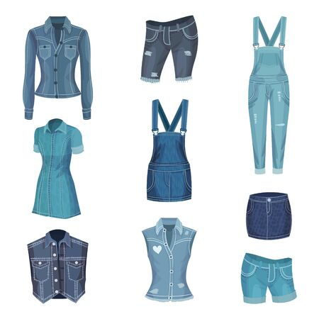 Jeans Clothing. Trendy FashionDenim Casual Clothes Vector Set. Denim Fabric Outfit Concept