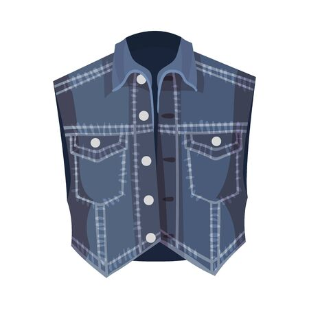 Blue Denim Vest Without Sleeves Vector Fashion Clothing Item 일러스트