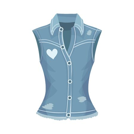 Blue Denim Vest Without Sleeves Vector Fashion Clothing Item. Casual Apparel Concept 일러스트