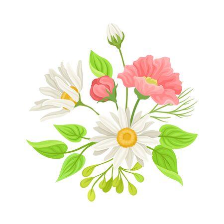 Daisy Flowers Vector Composition. Field Chamomile Blossom Concept 版權商用圖片 - 134616160