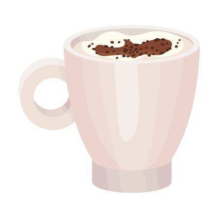 Full Ceramic Cup of Coffee with Foam Topping with Chocolate Crumbs Vector Object
