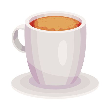 Full Ceramic Cup of Coffee with Steam Vector Object. Beverage With Caffeine Concept