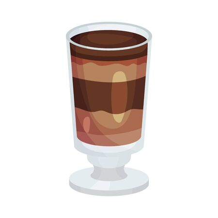 Full Glass of Coffee with Layers Vector Object. Beverage With Caffeine Concept Illustration