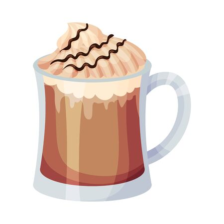 Full Glass of Coffee with Creamy Chocolate Topping Vector Object Illustration