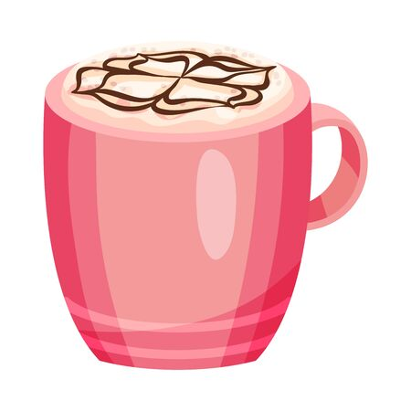 Full Ceramic Cup of Coffee with Creamy Chocolate Topping Vector Object
