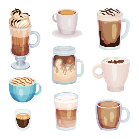 Different Coffee Drinks Isolated On White Background Vector Set