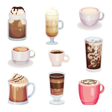 Différentes boissons au café isolées sur fond blanc Vector Set