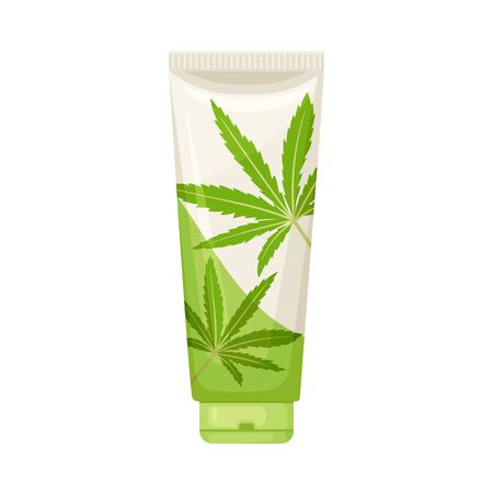 Cosmetic Bottle of Cream With Main Cannabis Ingredient Vector Item