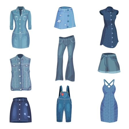 Jeans Clothing. Trendy Fashion Denim Casual Clothes Vector Set Ilustrace