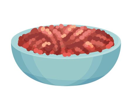 Forcemeat in Bowl. Ingredient For Lasagna Preparation Vector Illustration