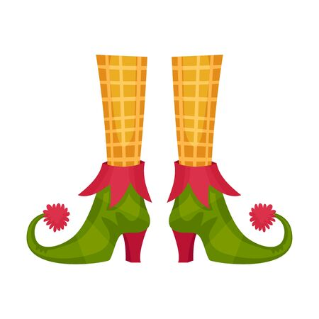 Elf Legs in Checked Socks and Funny Shoes With Jingle Bell Vector Item
