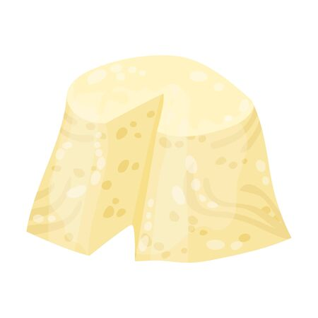 Curd Cheese With one Slice Cut Off For Gnocchi Preparation Vector Illustration 向量圖像
