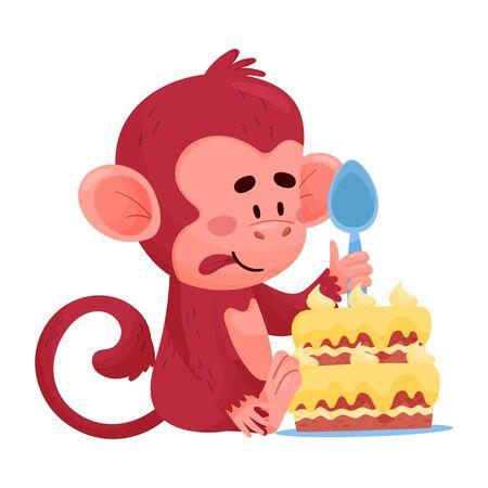 Drôle Petit Singe Rouge Manger Le Gâteau Illustration Vectorielle Personnage Dessin Animé