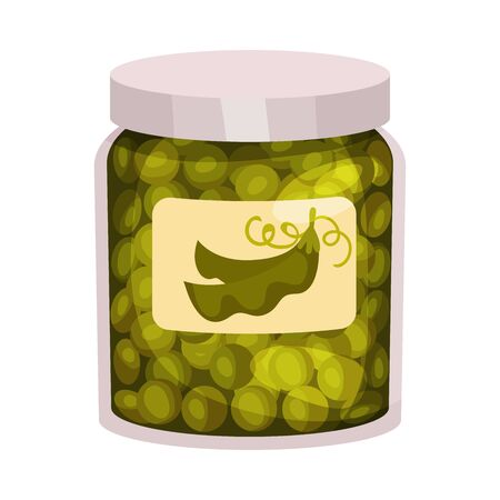 Jarred Green Peas with Label on Glass Bottle