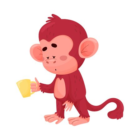 Funny little baby monkey standing with cup of coffee or tea, cannot sleep. With bored, exhausted face expression. Vector illustration, cartoon character, isolated, white background.