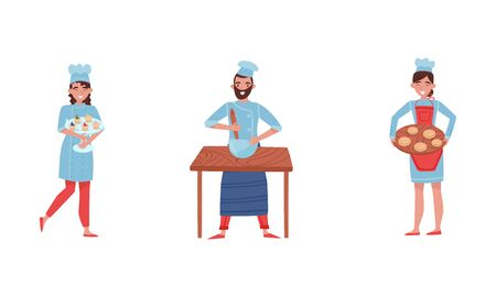 Smiling Baker Characters Baking Bread and Making Confections Vector Illustrations. Woman Carrying Cupcakes and Buns, Man Mixing Something in Bowl