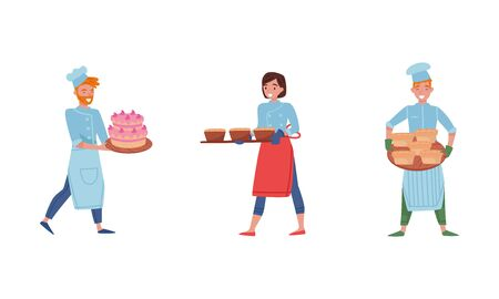 Smiling Baker Characters Baking Bread and Making Confections Vector Illustrations. Man Carrying Cake on Tray and Woman Holding Hot Bread