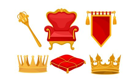 Monarchy Attributes Vector Set. Golden Power Symbols Collection